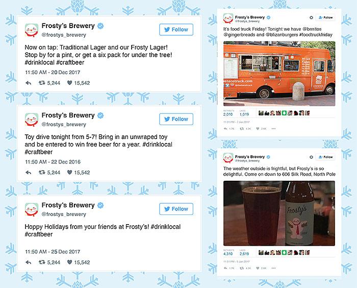 Twitter feed of Frosty's social